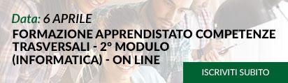 FORMAZIONE APPRENDISTATO COMPETENZE TRASVERSALI - 2° MODULO (INFORMATICA) - ON LINE